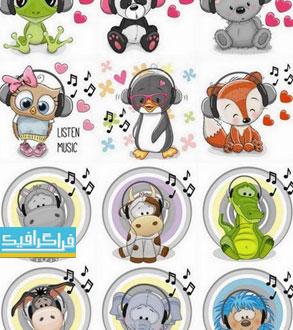 دانلود وکتور حیوانات کارتونی با هدفون موسیقی
