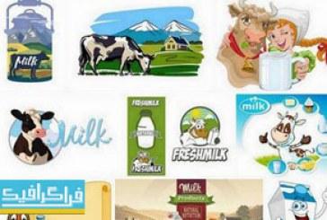 دانلود وکتور طرح های تبلیغاتی شیر گاو