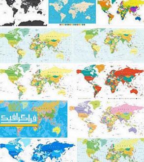 دانلود وکتور نقشه جهان و قاره ها با جزئیات - شماره 2