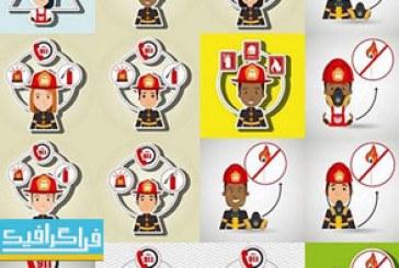 دانلود وکتور های آتش نشان – طرح کارتونی