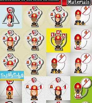 دانلود وکتور های آتش نشان - طرح کارتونی