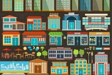 دانلود وکتور ساختمان ها و مناطق شهری – طرح تخت – Flat