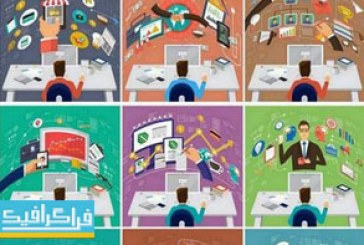 دانلود وکتور طرح های محیط کار اداری – طرح تخت