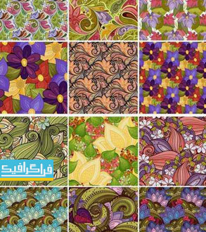 دانلود وکتور های پترن گلدار- Floral Patterns - شماره 9