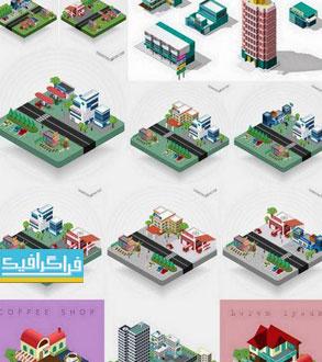 دانلود وکتور های شهر ایزومتریک 3 بعدی