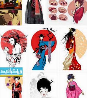 دانلود وکتور طرح های زنان ژاپنی