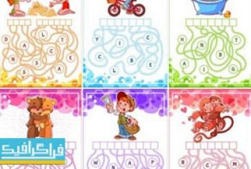 دانلود وکتور پازل های آموزشی مارپیچ حروف