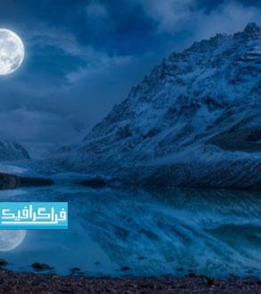 دانلود والپیپر ماه کامل با انعکاس در آب