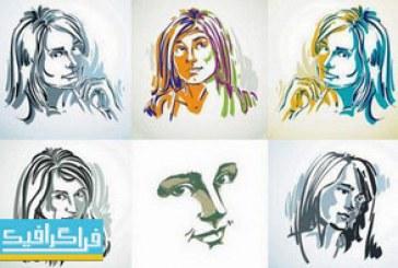 دانلود وکتور تصاویر پرتره زن – نقاشی اسکچ