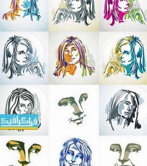 دانلود وکتور تصاویر پرتره زن - نقاشی اسکچ