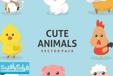 وکتور حیوانات بامزه مزرعه – رایگان