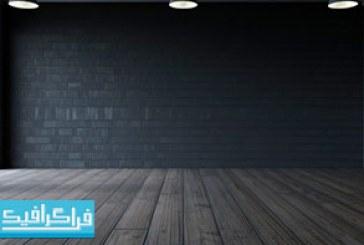 تصویر استوک اتاق کم نور با کف چوبی