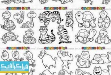 دانلود وکتور تصاویر حیوانات برای رنگ آمیزی – شماره 2