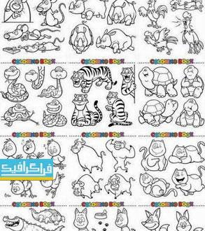 دانلود وکتور تصاویر حیوانات برای رنگ آمیزی - شماره 2
