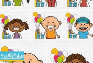 دانلود وکتور طرح های کودکان شاد و تبریک تولد