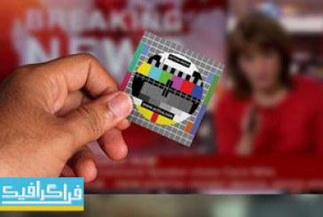 کارت ویزیت لایه باز طرح تصویر قطع شدن شبکه تلویزیون