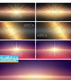 دانلود وکتور پس زمینه های نورانی بین ستاره ای