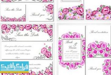 دانلود وکتور کارت دعوت عروسی – گل رز صورتی