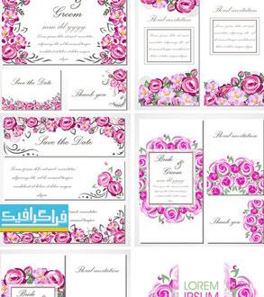 دانلود وکتور کارت دعوت عروسی - گل رز صورتی