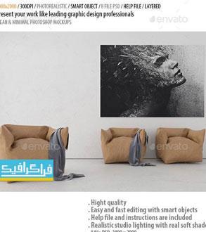 دانلود ماک آپ فتوشاپ تصویر - پوستر روی دیوار
