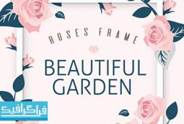 وکتور قاب گل های رز زیبا – رایگان