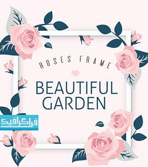وکتور قاب گل های رز زیبا - رایگان
