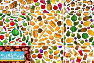 دانلود وکتور پترن مواد غذایی مختلف
