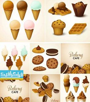 دانلود وکتور طرح های گرافیکی بستنی و شیرینی