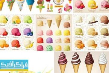 دانلود وکتور بستنی قیفی های میوه ای و اسکوپ بستنی