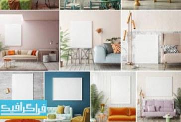 دانلود تصاویر استوک نمای داخلی خانه با صندلی و قاب خالی