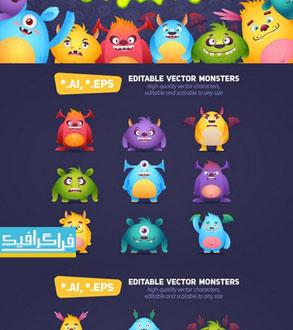 دانلود وکتور هیولا های کارتونی بامزه - شماره 2