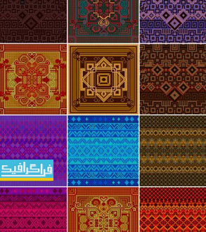 دانلود وکتور پترن طرح تزئینی فرش