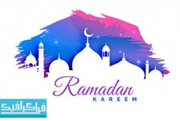 دانلود وکتور پس زمینه رنگارنگ ماه رمضان – رایگان