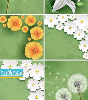 دانلود وکتور پس زمینه های سبز گل کلاسیک