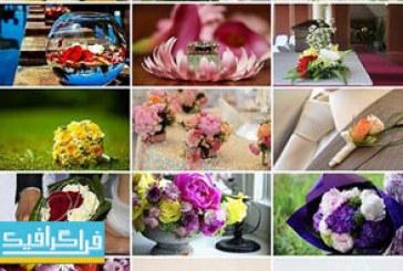 دانلود تصاویر استوک دسته گل و حلقه ازدواج