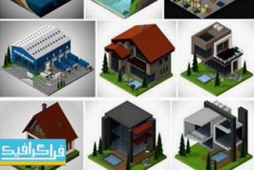 دانلود وکتور ساختمان ها و محیط های بیرونی ایزومتریک سه بعدی