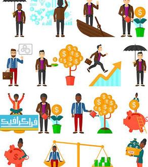 دانلود وکتور شخصیت های کارتونی تاجر - شماره 6