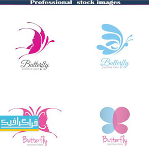 دانلود لوگو های خلاقانه پروانه - لایه باز وکتور