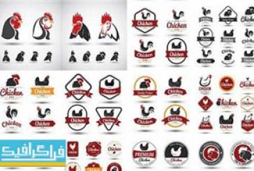 دانلود وکتور لوگو و برچسب های تبلیغاتی مرغ و خروس
