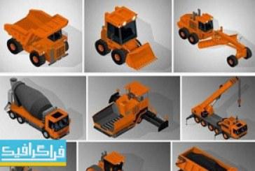 دانلود وکتور ماشین آلات حفاری و ساخت و ساز