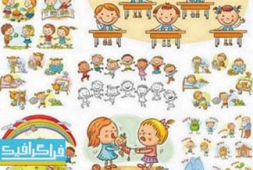 دانلود وکتور کودکان بامزه و خوشحال – شماره 2