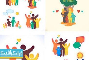 دانلود لوگو های لایه باز وکتور خانواده شاد