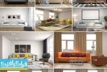 دانلود تصاویر استوک سالن پذیرایی با کاناپه و اتاق خواب