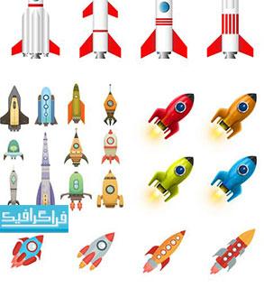 دانلود وکتور طرح های موشک و راکت فضاپیما - رایگان