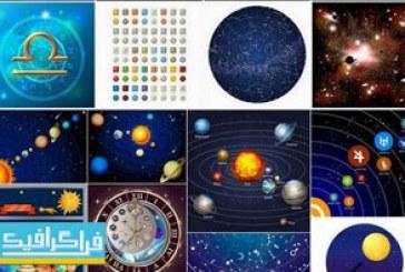 دانلود وکتور طرح های منظومه شمسی و سیاره – شماره 2