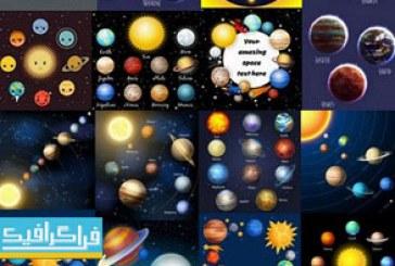 دانلود وکتور طرح های منظومه شمسی و سیاره – شماره 3