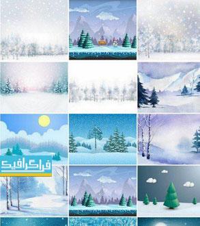 دانلود وکتور پس زمینه های طبیعت زمستان