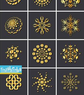دانلود لوگو های طلایی انتزاعی - لایه باز وکتور