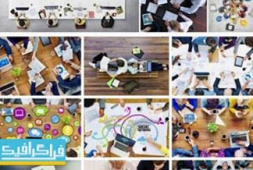 دانلود تصاویر استوک مردم در جلسه کاری – نمای بالا