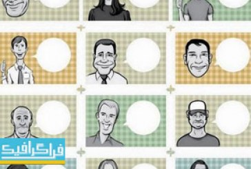 دانلود وکتور طرح های کاریکارتور مردم با حباب صحبت